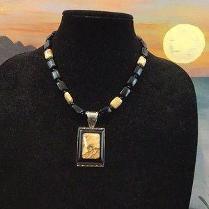 STERLING SILVER (JASPER STONE & Onyx) Necklace